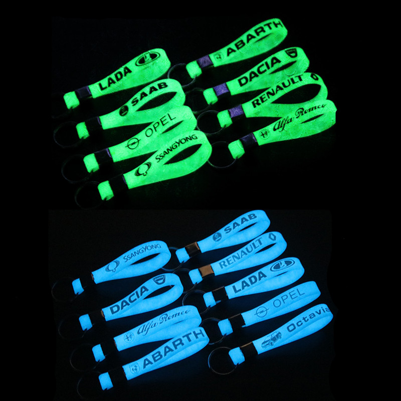2PCS Luminous Car Key Holder Key Rings Key Chain For Honda Nissan Audi Bmw Renault Opel opel <font><b>Suzuki</b></font> Mitsubishi KIA Car Styling image