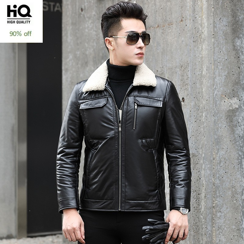 Thick Winter New High Quality Genuine Leather Mens Down Coats Wool Turn Down Collar Fashion Male Casual Slim Jackets Plus Size