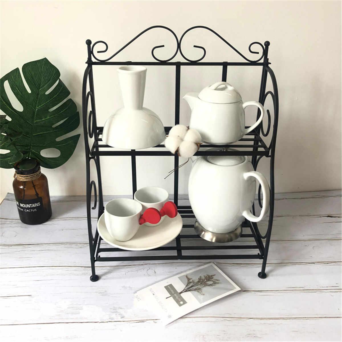 2-שכבות ברזל צמח Stand מדף מתלה פשוט מקורה קפה בר גן מרפסת מדף רב שימוש מדף עיצוב הבית