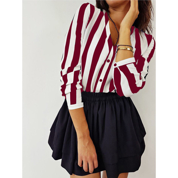 Fashion Hot Sale Summer Elegant V Neck Button Blouse OL Casual Loose Tops Sexy Women Striped Vintage Shirt 10