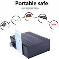 WORTHY Portable Car Safe Box Key Lock Safes Jewelry Cash Pistol Storage Boxes Aluminum Security Fixed With Wire Rope Fixed