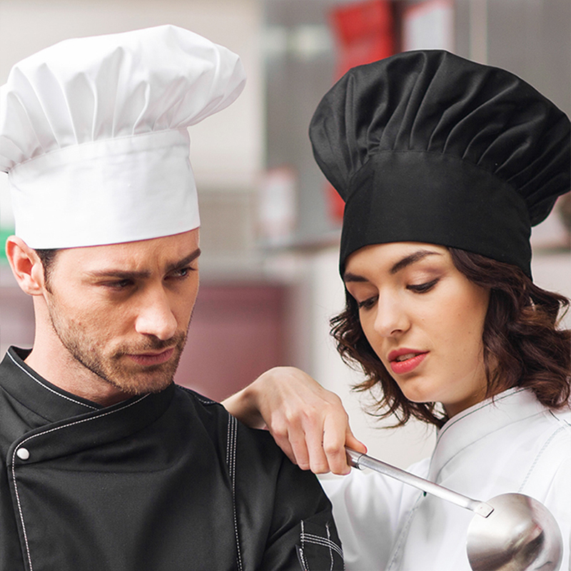 1pc Cooking Adjustable Unisex Chef Hat Kitchen Baker Elastic Hat Catering Cooking Cap Striped Plain Hats Working Cap