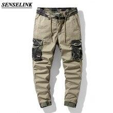 Verão novo caqui camuflagem imprimir calças de carga dos homens casual solto ao ar livre tático calças do exército multi-bolso tamanho grande calças masculinas 29-38