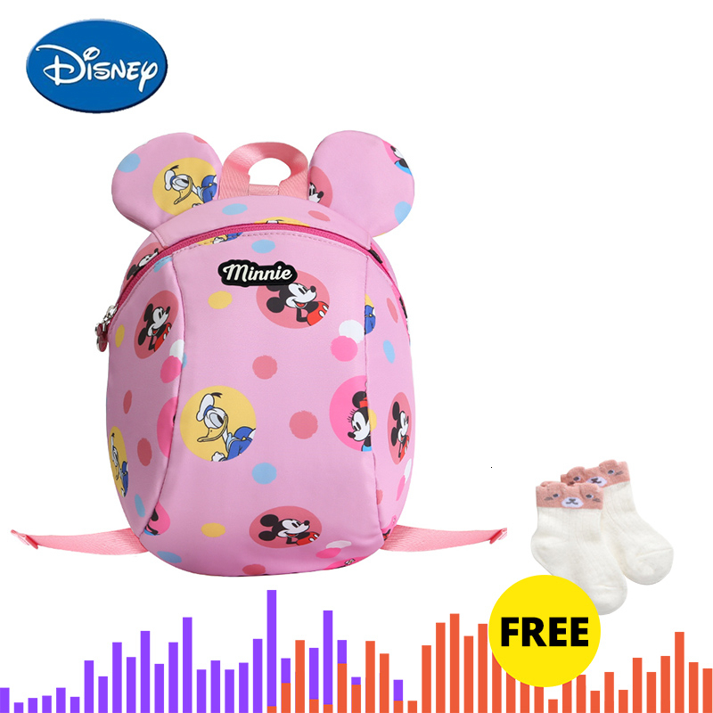 Disney Toddler Anti Lost Belt Backpack Baby Walker Safety Harnesses Mickey Minnie Cartoon Wrist Link Walking Leashes Strap Bag