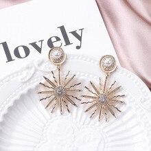 Hello Miss retro pearl crystal sun flower pendant earrings bohemian punk stud fashion womens jewelry
