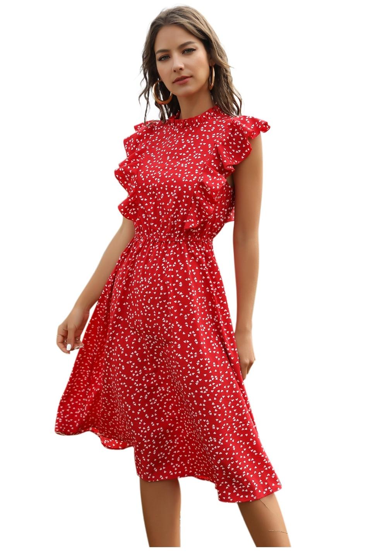 Dot Print Butterfly Sleeve Ruffles Long Chiffon Dress 9
