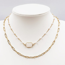 Fashion creative multi-layer gem woman necklace pearl chain jewel pendant atmospheric European and American wind