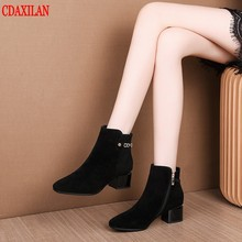 CDAXILAN new to womens boots genuine sheep suede Mid-heel side zipper ankle boot spring autumn winter ladies short Martin