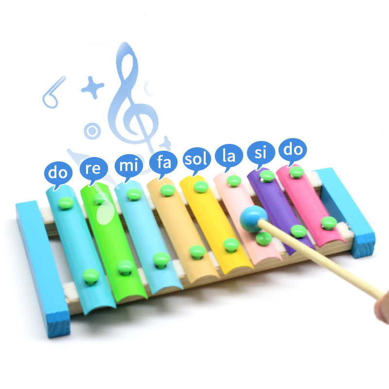 Music Instrument Toy Wooden Xylophone Toy 8 Keys Macaroon Color Kids Music Learning Educational Toys Gifts