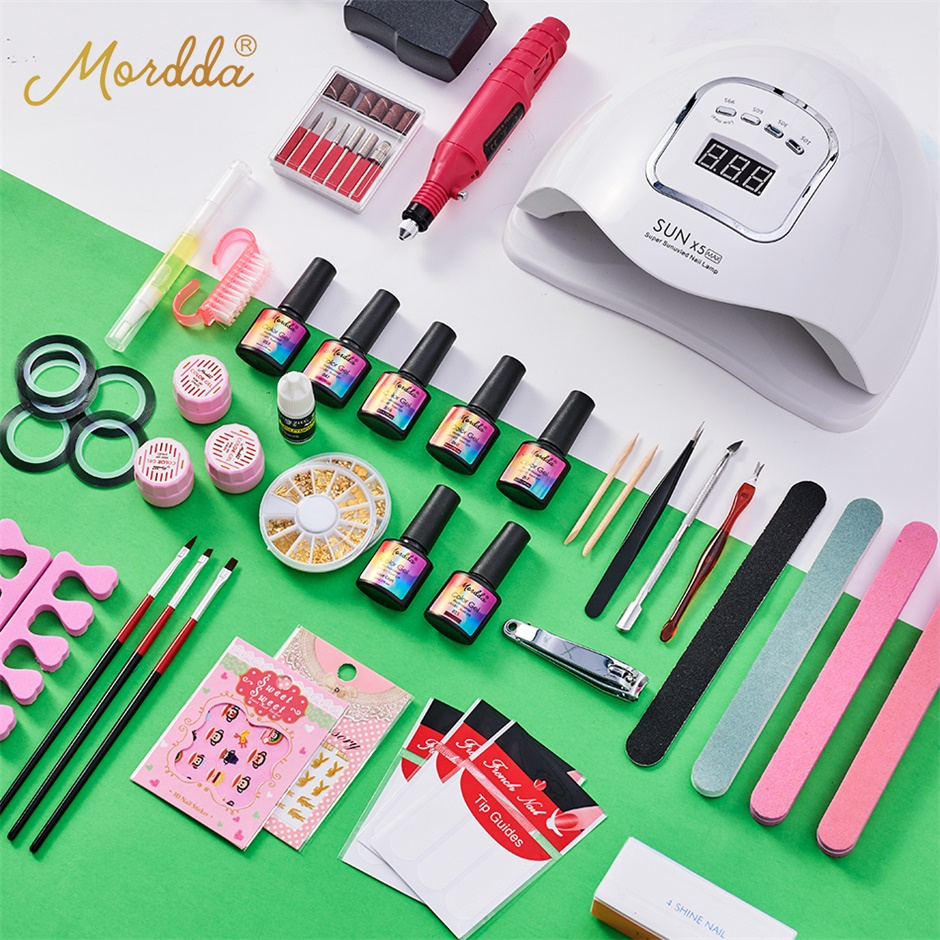 MORDDA Nail Set UV LED Lamp Dryer With Soak Off Nail Gel Polish Kit Manicure Tools Set Electric Nail Drill For Nail Art DIY Tool
