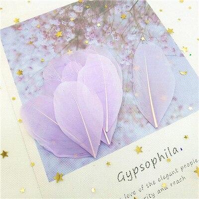 Натуральные гусиные перья 4-8 см, многоцветные белые перья, поделки своими руками, украшения для свадебной вечеринки, аксессуары, 50 шт - Цвет: light purple 50pcs