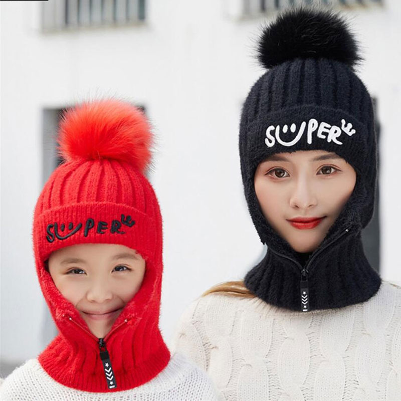 Winter Knitted Zip Hooded Scarf Girls Women Plush Warm Protection Ear Pom Pom Cap Scarves 2019 New Parent-child Hat And Scarf