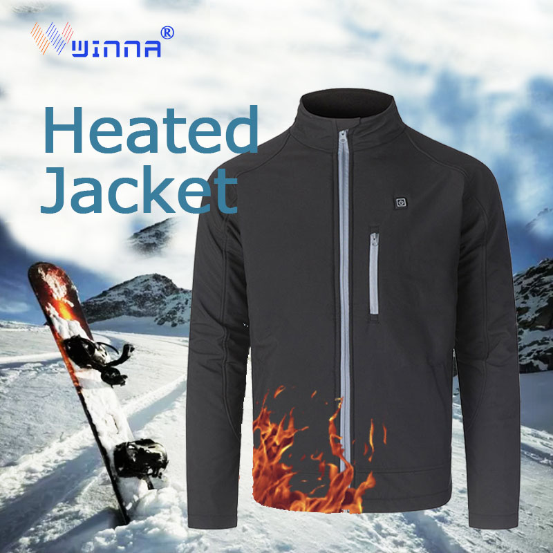 Smart Upgraded Men Outdoor USB Infrared Heating Jacket Winter Electric Thermal Clothing Jacket skiing  outdoor clothing|Hiking Jackets| |  - title=