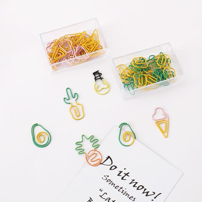 TUTU 10 pcs/lot Creative Kawaii pineapple ice cream bulb Shaped Metal Paper Clip Bookmark Stationery Escolar Papelaria H0281 6