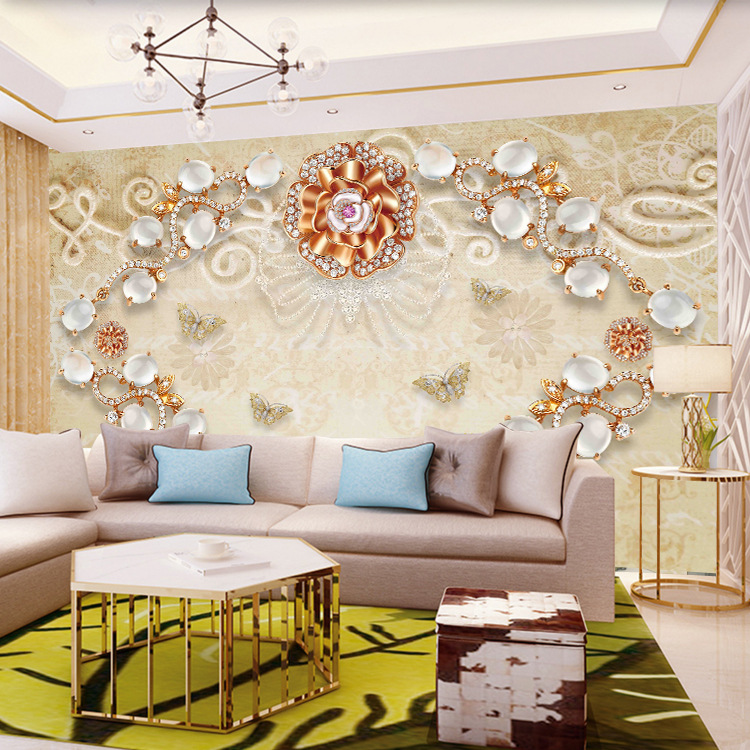 Modern Minimalist 3D Mural Relief Jewelry Flower TV Backdrop Wallpaper Seamless Whole Piece Living Room Wall Paper