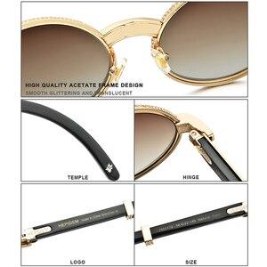 Image 3 - HEPIDEM bawoli róg okulary mężczyźni luksusowy gatunku projektanta okrągły diament dla kobiet nowy wysokiej jakości odcienie