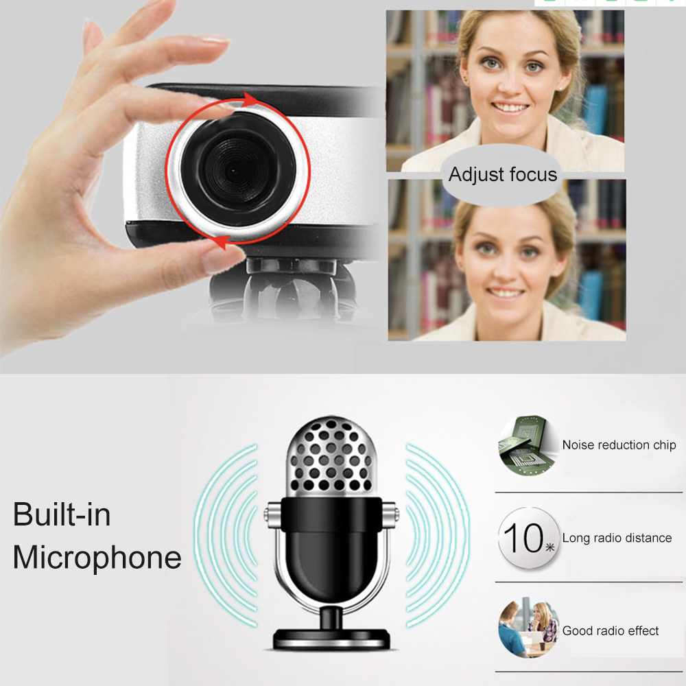 Webcam 480p PC High Definition Computer Cameras With Built-In HD Microphone Clip-On Digital Video Webcamera Webcam Full HD