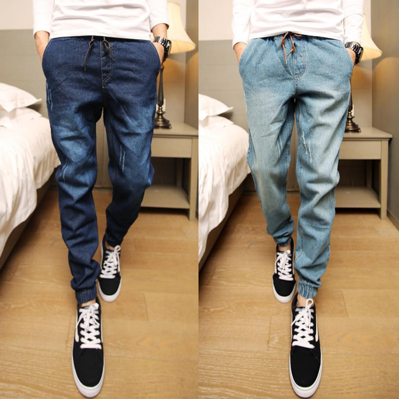 Spring And Autumn MEN'S Jeans Korean-style Skinny Harem Pants Men's Beam Leg Baggy Pants Men's Washing With Drawstring Trousers