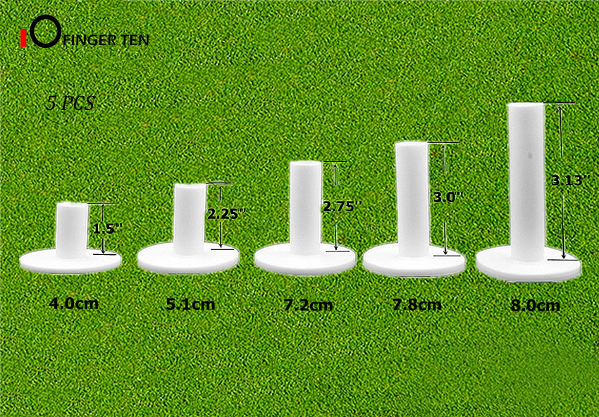 5Pcs Durable Rubber Golf Tees White Training Practice Driving Ranges Mixed Size Or 5 Same Size Tee Holder