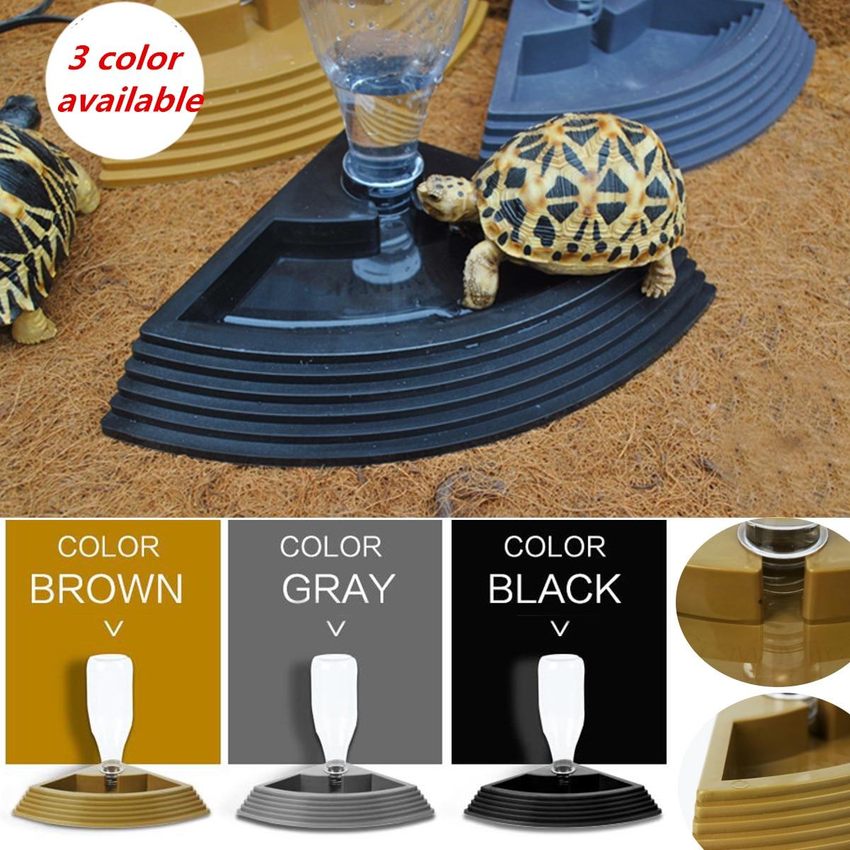 450ml Pet Turtles Water Drinking Dish Bowl Feeder Tortoise Reptiles Cat Dog Water Pot Dispenser Feeding Supplies Black