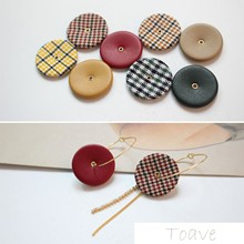 Autumn/winter Plaid Series Flat Round with Holes Buckle Plaid Leather diy Earrings Accessories
