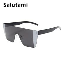 Gradient Mirror One Piece Sunglasses For Women Vintage Oversize Double Color Flat Eyewear Men Retro Cool Frameless Sun Glasses