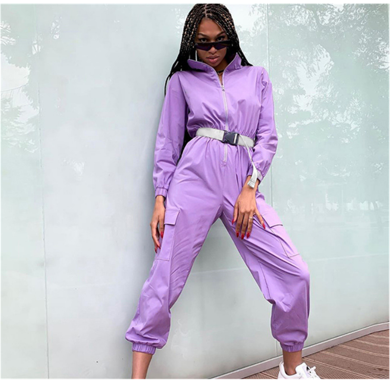 Hip Hop Women's New Zipper Stand Collar Big Pocket Loose Jumpsuits With Belt Women Casual Go Out Sport Overalls Purple Playsuits