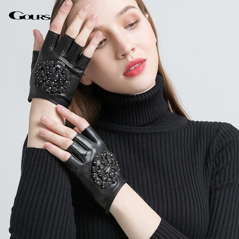 Gours Genuine Leather Gloves Women Black Warm Driving Fingerless Winter Gloves Women Real Goatskin Fashion Stones Mittens GSL057