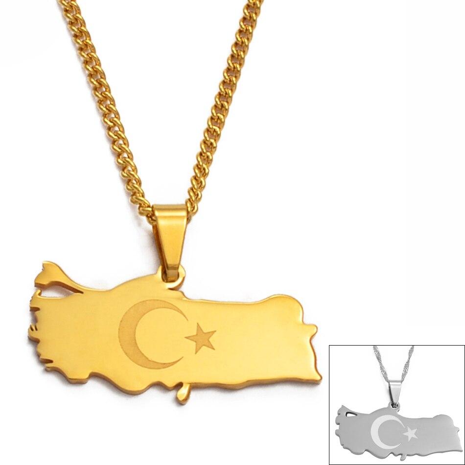 Ожерелье с подвеской в виде флага индейки Anniyo золотого/серебряного цвета для женщин и мужчин, патриотические подарки #012021