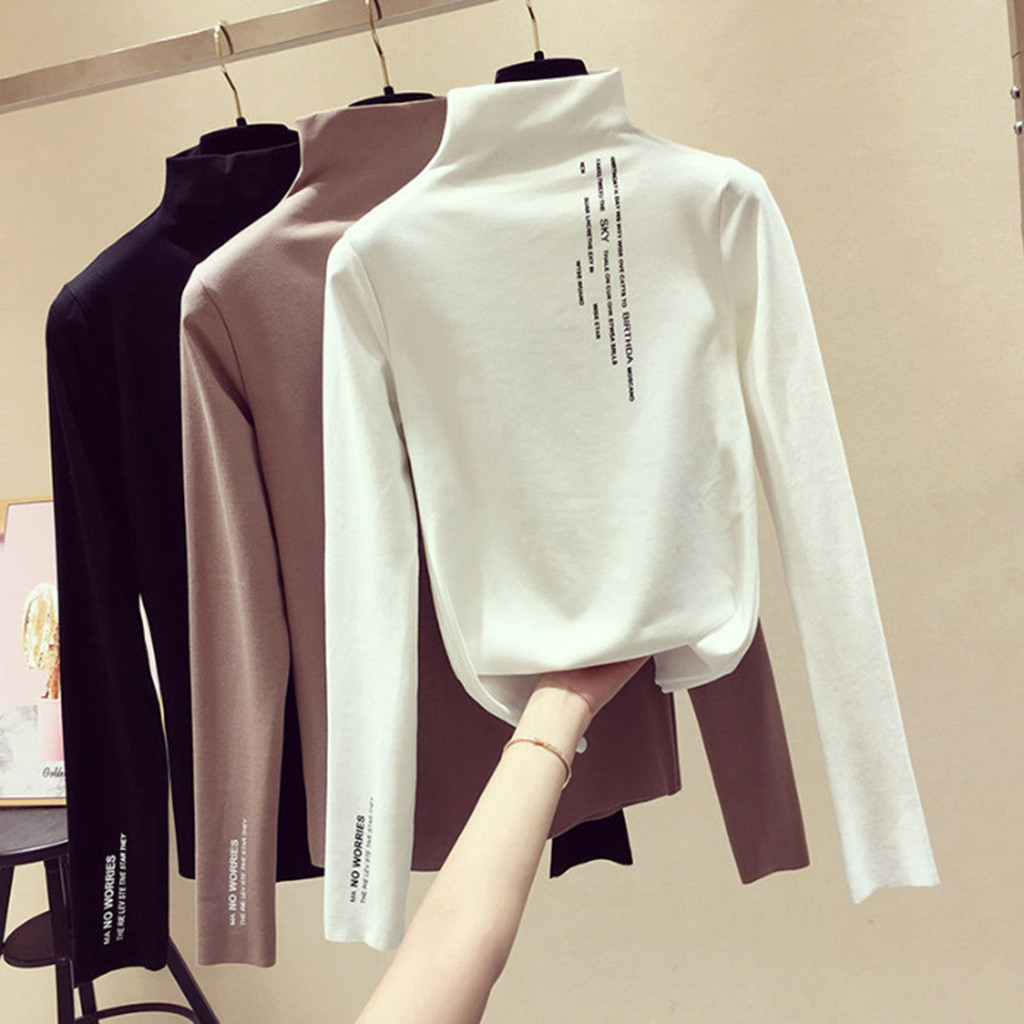 New T Shirt Women Brushed casual o-neck slim autumn winter women tees tops Long Sleeves High Collar Letter Printing  Slim Tops