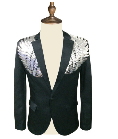 Men's Fashion Sequin Suit Men's Body Decoration Wings Sequins Retro Elegant Men's Dance Party Chair Suit Jacket Large Size 4XL