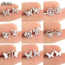 Boucles d'oreilles papillon Style Multiple pour femmes filles 2020 mode boucles d'oreilles en acier inoxydable animaux boucles d'oreilles noires petits bijoux cadeaux