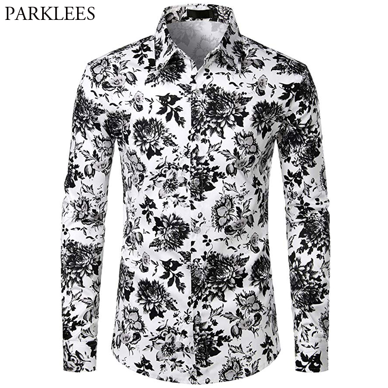 Black And White Floral Men Shirt Casual Slim Fit Flowers Shirts For Men Fashion Elegant Mens Shirts Long Sleeve Camisas Hombre