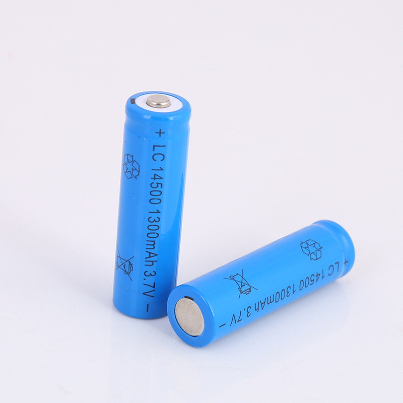 2pcs/lot Large capacity 3.7V 1300mAh rechargeable battery <font><b>14500</b></font> lithium <font><b>ion</b></font> rechargeable battery for flashlight battery image