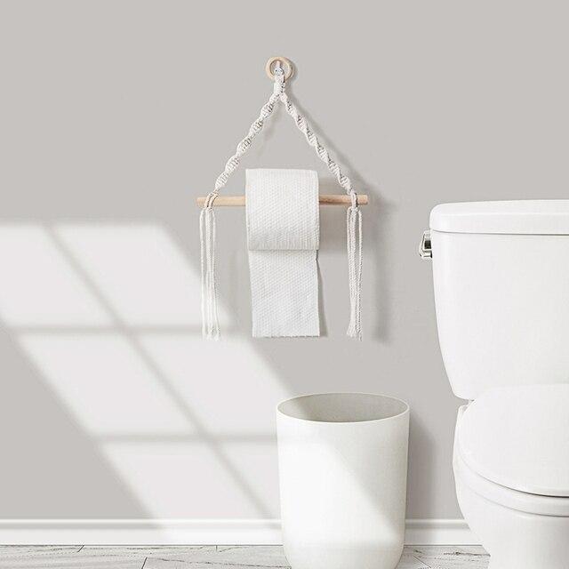 Macrame Hanging Toilet Paper Dispenser 3