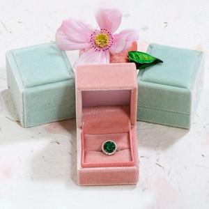 Image 3 - GZXSJG 10 Uds. De cajas de joyería de terciopelo, caja de anillo personalizada rectangular rosa y verde para boda, regalo de novia, compromiso vintage