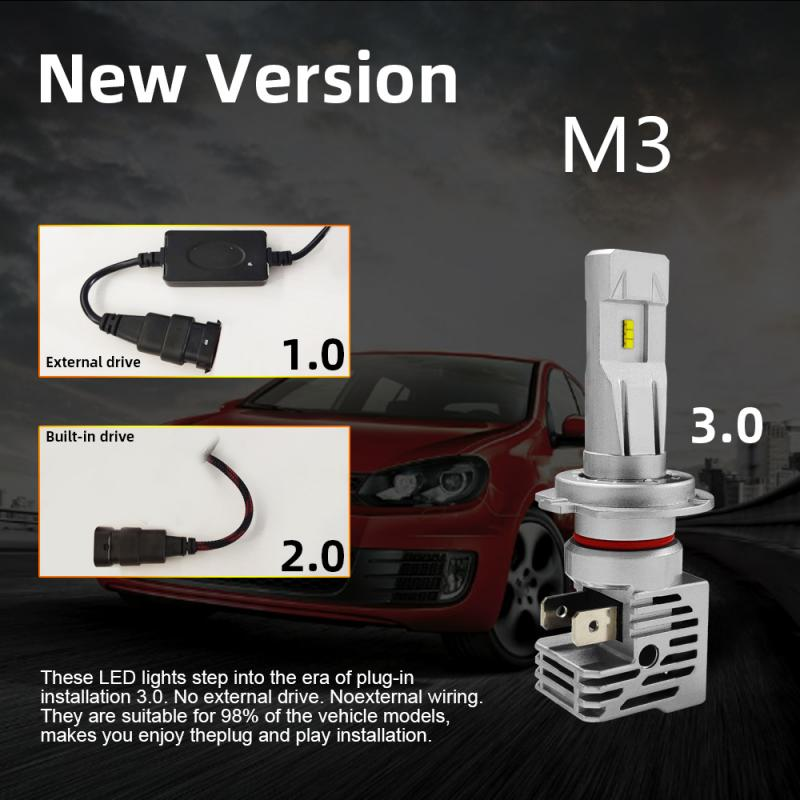 1pair New M3 Car LED Headlight H11 H4 H7 Car LED Headlight Bulb Kit 90W 16000LM High Power ZES Light Bulbs 6500K White Light