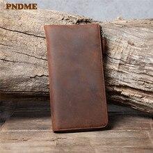 PNDME retro crazy horse cowhide men's long clutch wallet simple natural genuine leather women's multi-card holder phone purse