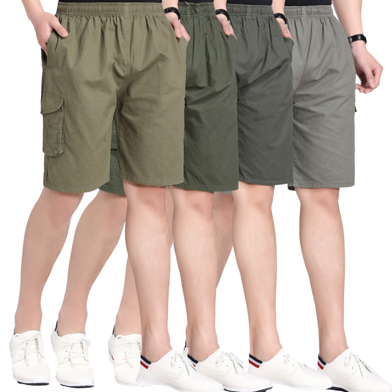 Summer Middle-aged Shorts Workwear Men's Shorts Casual Pants Shorts Men Pure Cotton Multi-pocket Trousers Beach Shorts