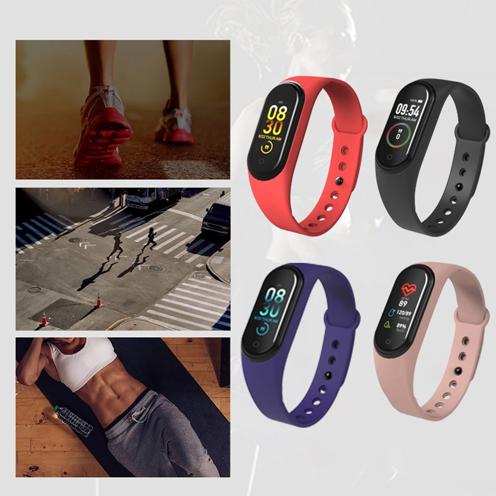 4-Fitness-Tracker Watch Wristbands Blood-Pressure-Smartband-Monitor Sport Bracelet Heart-Rate