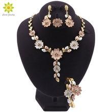 Dubai Jewelry Set for Women Wedding Dress Accessories Gold Color Flower Shaped Necklace Earrings Bracelet Ring Set