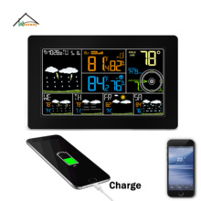 Recharge Clock Radio Weather Station WIFI for 4 Days Weather Forecast Mobile APP Historical Temperature and Humidity Monitoring