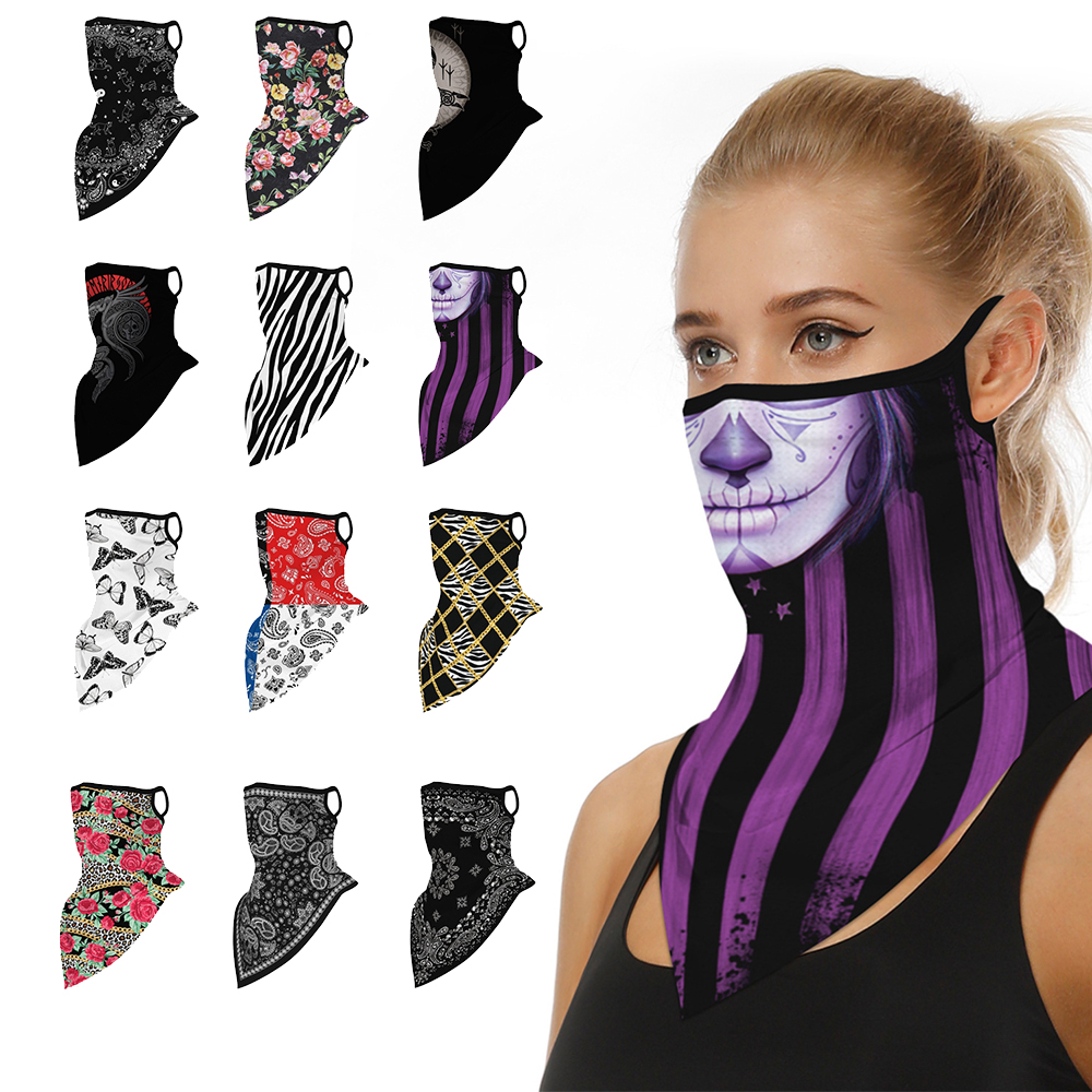 1PC Multi-function Ear Hanging Magic Scarf Sun Protection Half Face Mask Breathable Balaclava Cycling Bandana Outdoor Headwear(China)