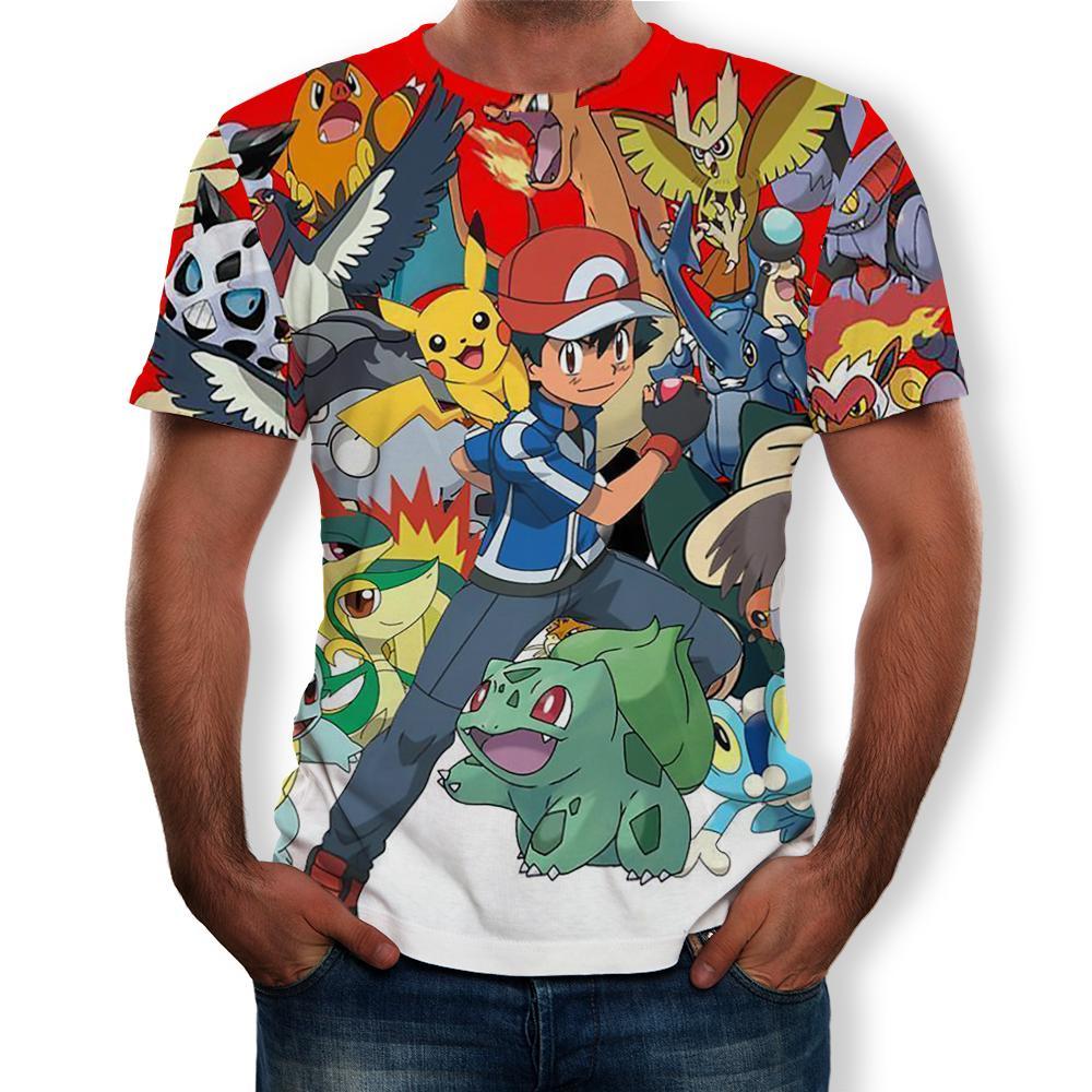 New Fashion Hip Hop Streetwear Harajuku Pokemon 3d digital printing animation Graphic unisex t-shirt Tops Casual gym Tee Shirt 3