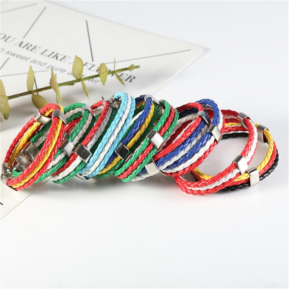 Fashion Russia Spain France Brazil Flag Leather Team Bracelet Men High Quality Football Fans Couples Gift Jewelry