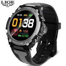 Смарт-часы LIGE мужские водонепроницаемые, IP68, с пульсометром и тонометром