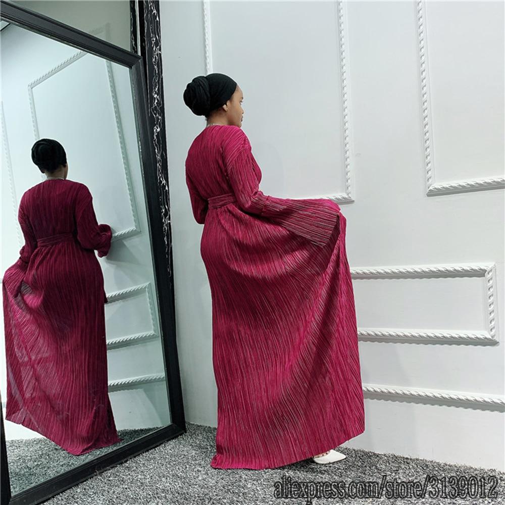 Pleated Arabic Dubai Abaya Kimono Hijab Muslim Dress African Dresses Abayas For Women Caftan Marocain Kaftan Islamic Clothing