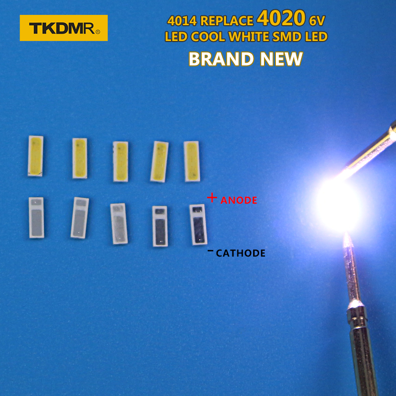 TKDMR 30PCS/Lot 4014 4020 SMD LED Beads Cold White 1W 6V 150mA For TV/LCD Backlight Free Shipping