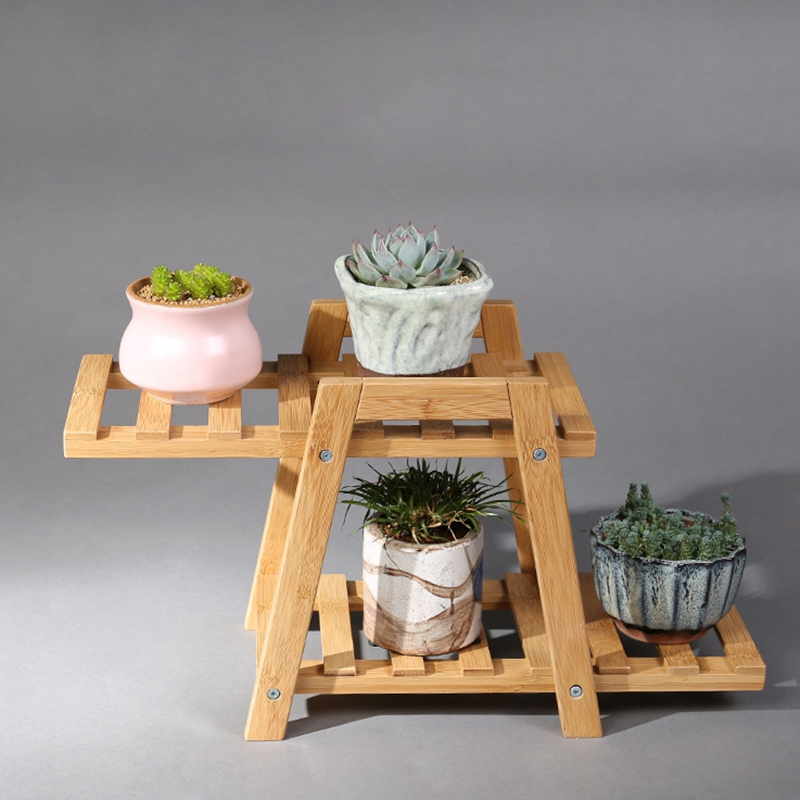 Best Plant Rack, Wood Stepping Style Flower Succulents Leaves Pot 3 Shelves Stand For Indoor Outdoor Garden Greenhouse