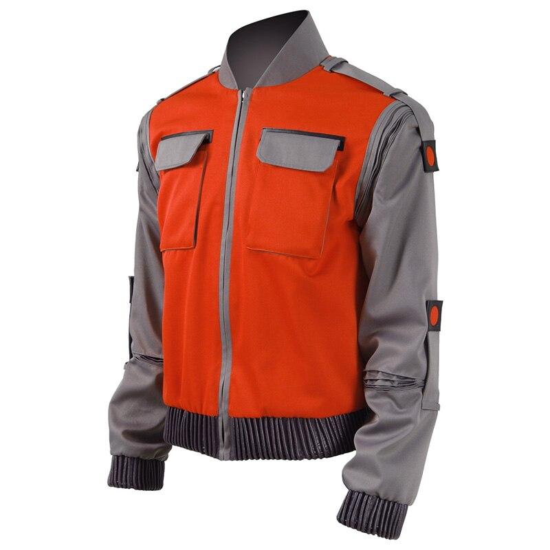 Cosdaddy Marty McFly Jacket Back Future Cosplay Costume Jr Marlene Orange Pilot Jacket Coat
